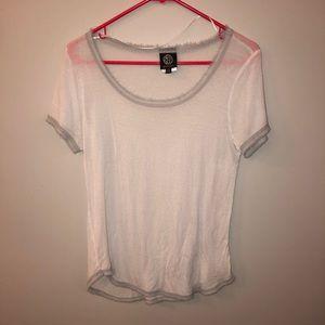Bobeau Sheer white t-shirt with gray trim S